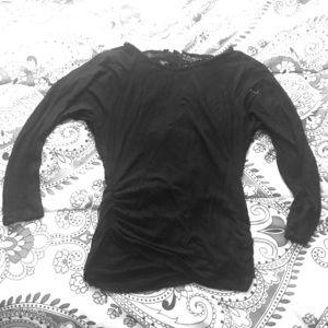 Black long sleeved lace back shirt